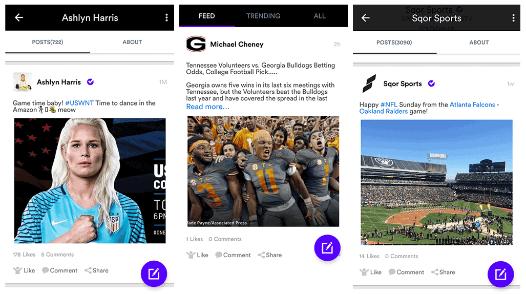 Sqor Sport mobile app screenshots